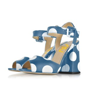 Women's Blue and White Polka Dots Chunky heel Sandals