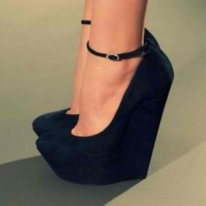 Black Closed Toe Wedges Ankle Strap Suede Platform Pumps