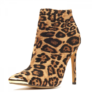 Leopard Print Boots Stiletto Heels Fashion Ankle Boots US Size 3-15