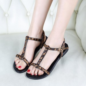 Women's Brown T-strap Leopard Print Flats Sandals