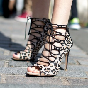 Khaki Leopard Print Shoes Lace Up Strappy High Heels Stripper Shoes