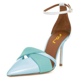 Light Blue and Cyan Ankle Strap Heels Pumps