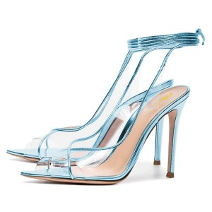 Light Blue Clear Heels Ankle Strap Stiletto Heel Sandals