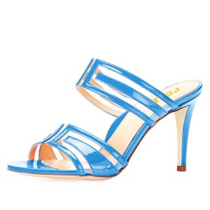 Light Blue Clear PVC Mule Heels Sandals