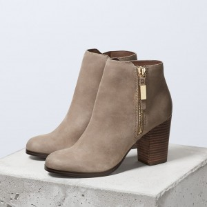 Taupe Vintage Boots Round Toe Chunky Heel Ankle Boots