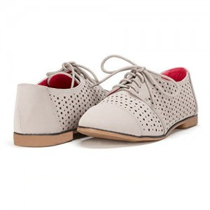 Beige Hollow out Women's Oxfords Comfortable Lace up Vintage Flats