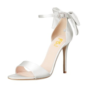 Women's White Ankle Strap Bow Stiletto Heel Bridal Sandals