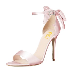 Women's Pink Ankle Strap Bow Stiletto Heel Bridal Sandals