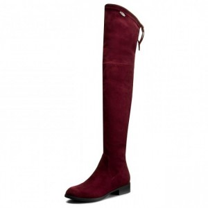 Women's Suede Flat Over-the-Knee Stretch Boots in Burgundy