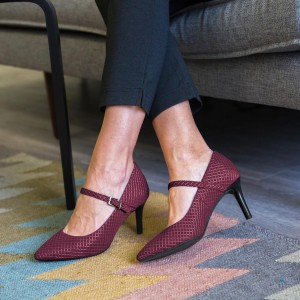 Maroon Mary Jane Pumps Pointy Toe Stiletto Heels Office Pumps
