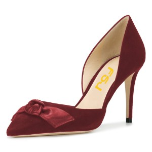 Maroon Office Heels Pointy Toe Stiletto Heel Pumps with Bow