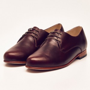Maroon Women's Oxfords Lace up Flats Vintage Dress Shoes