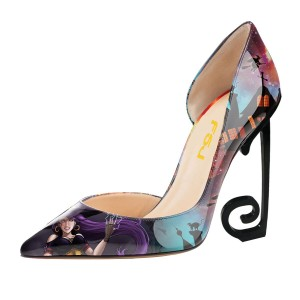 Multi-Color Floral Heels Stiletto Heel Witch Pumps for Halloween