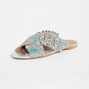 Multi Color Gliter Slide Sandals Rhinestone Flat Sandals with Buckle