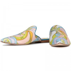 Multicolor Floral Flat Loafer Mules