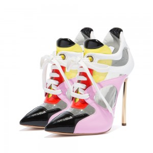 Multicolor Patent Leather PVC Stiletto Heel Lace Up Boots