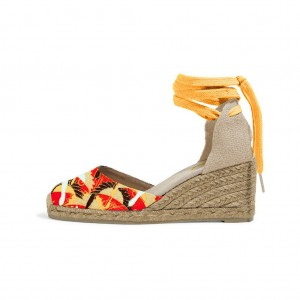 Mustard Floral Print Espadrille Wedges Ankle Wrap Closed Toe Sandals