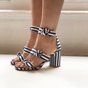 Navy and White Stripes Triple Tie Block Heel sandals