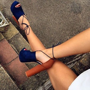 Navy Block Heels Peep Toe Sandals Ankle Strap Platform Pumps