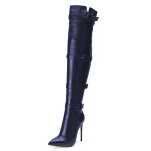 Navy Blue Thigh High Heel Boots Pointy Toe Stiletto Heel Long Boots