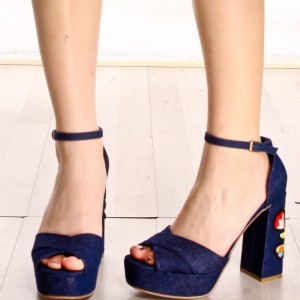 Navy Denim Flower Embroidered Platform Chunky Heel Ankle Strap Sandals