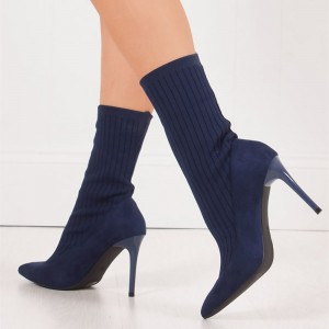 Navy Pointy Toe Stiletto Heel Sock Boots Ankle Booties
