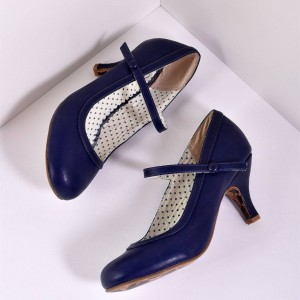 Navy Retro Mary Jane Heels Stiletto Heels Vintage Shoes