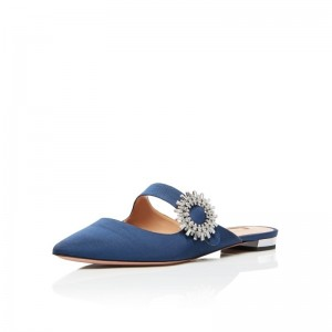 Blue Denim Pointy Toe Flats Summer Flat Mules