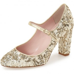 Women's Golden Sequined Chunky Heel Pumps Mary Jane Shoes