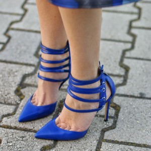 Blue Closed Toe Sandals Strappy Stiletto Heels Shoes