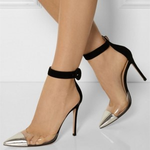 Black and Silver Clear Heels Pointy Toe Stilettos Ankle Strap Heels