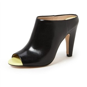 Women's Black Mule Peep Toe Chunky Heels Pumps