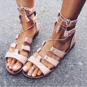 Pink Gladiator Sandals Open Toe Flats Lace up Strappy Sandals