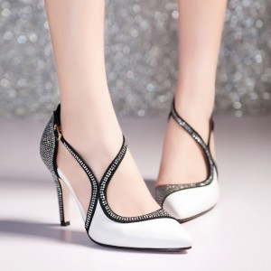 Black and White Prom Shoes Chunky Heel Rhinestone Evening Shoes