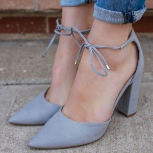 Women's Grey Chunky Heels Office Shoes Pointy Toe Lace Up Pumps