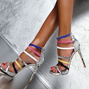 Women's Multicolored Open Toe Stiletto Heels Strappy Python Ankle Strap Sandals