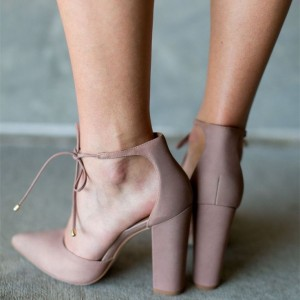 Old Pink Lace up Sandals Closed Toe Chunky Heels for Women