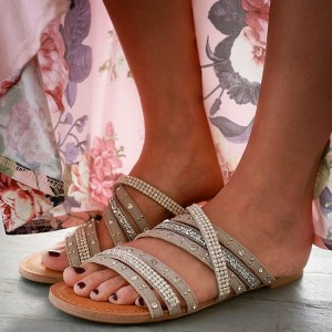 Khaki Summer Women's Slide Sandals Open Toe Beaded Flat Studs Shoes