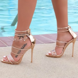 Women's Gold Clear Sandals Stilettos High Heels