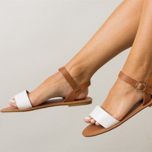 White and Tan Vegan Shoes Open Toe Summer Flat Sandals US Size 3-15