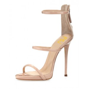 Nude Vegan Patent Leather Office Sandals Open Toe Stiletto Heels