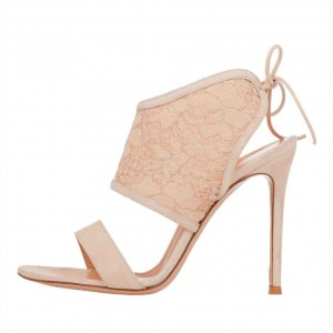 Nude Lace Wedding Heels Suede Back Laced Stiletto Heels
