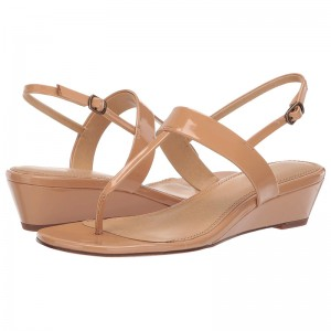 Nude Patent Leather T Strap Slingback Wedge Sandals