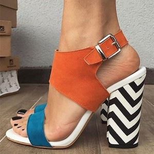 Orange and Blue Slingback Block Heel Sandals
