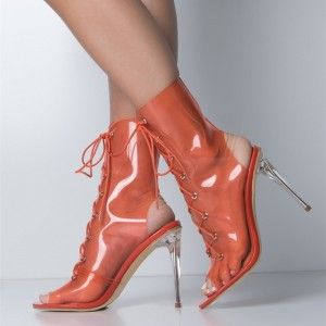 Orange Clear Heels Summer Boots Lace up Peep Toe Slingback Ankle Boots