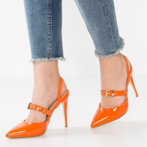 Orange Patent Leather Slingback Pumps Pointy Toe Stiletto Heels