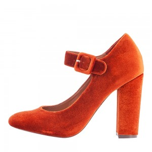Orange Velvet Mary Jane Pumps Round Toe Chunky Heels Vintage Shoes