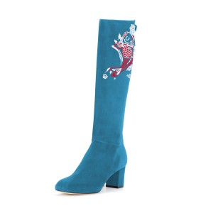 Women's Cyan Suede Fish Floral Mid-Calf Chunky Heel Boots