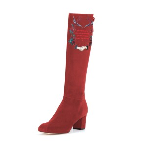 Women's Maroon Suede Letter Floral Mid-Calf Chunky Heel Boots
