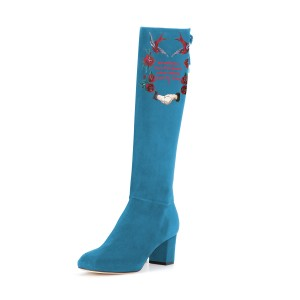 Women's Cyan Suede Letter Floral Mid-Calf Chunky Heel Boots